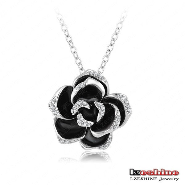 Black Enamel Rose Flower Pendant Necklace Austrian Crystal Silver Plated Necklace