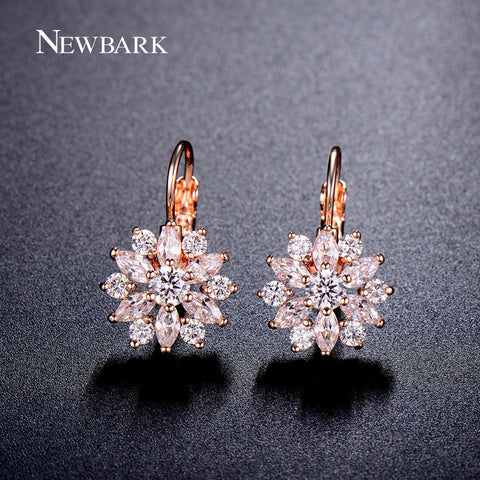 Marquise CZ Formed Brilliant Flower Stud Earrings