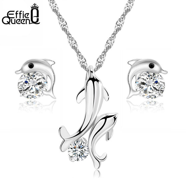 CZ Crystal Platinum Plated Dolphin Necklace & Stud Earrings