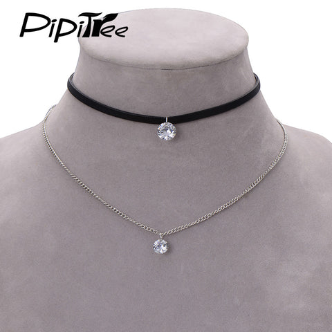 Trendy Leather Strap with Crystal Rhinestone Charm Layer Pendant Choker Necklace
