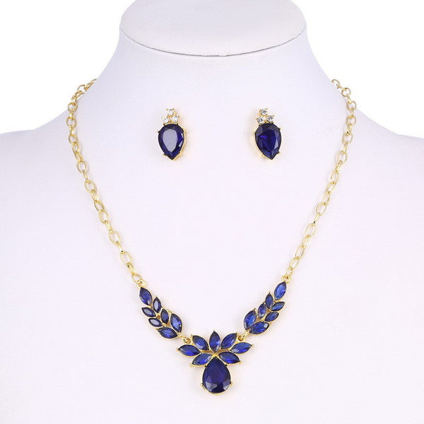 Gold Plated Blue Crystal CZ Necklace & Stud Earrings Jewelry Set