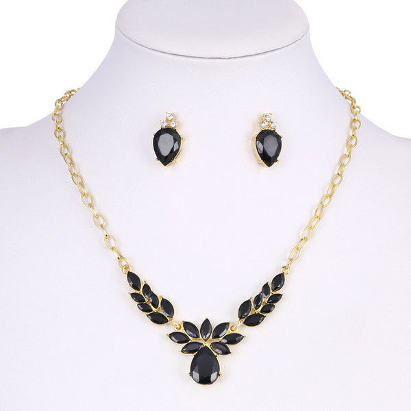 Gold Plated Blueish Crystal CZ Necklace & Stud Earrings Jewelry Set