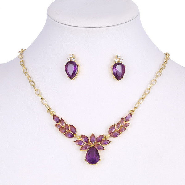Gold Plated Purple Crystal CZ Necklace & Stud Earrings Jewelry Set