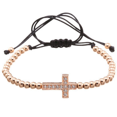 Charm Micro 4mm Beads & Crystal CZ Cross Braided Macrame Bracelet