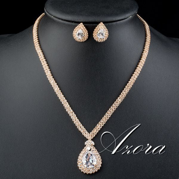 Gorgeous Gold Plated Clear CZ Water Drop Pendant Necklace and Earrings Jewelry Set