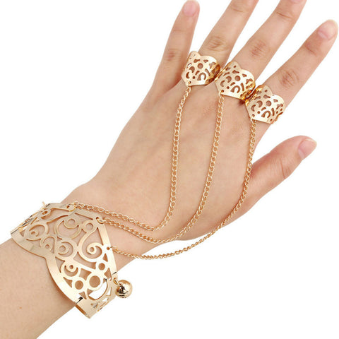 Open Cuff Bracelet & Bangles Gold Punk Style Hand to Finger Chain
