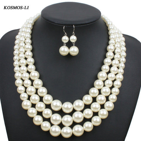 Multi Strand Faux Pearl Necklace & Earrings Jewelry Set