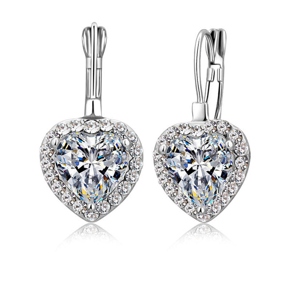 925 Sterling Sliver Shiny 2 Carat CZ Crystal Dangle Earrings