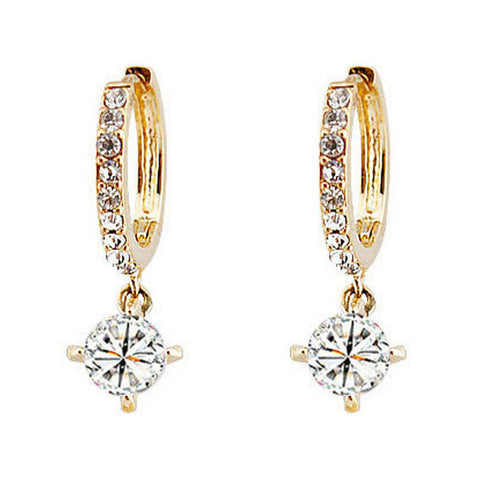 Gold Plated Crystal CZ Drop Earrings Circle Earrings