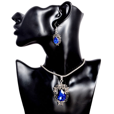 Crystal Waterdrop Shape Flower CZ Pendant Necklace Earrings Jewelry Set