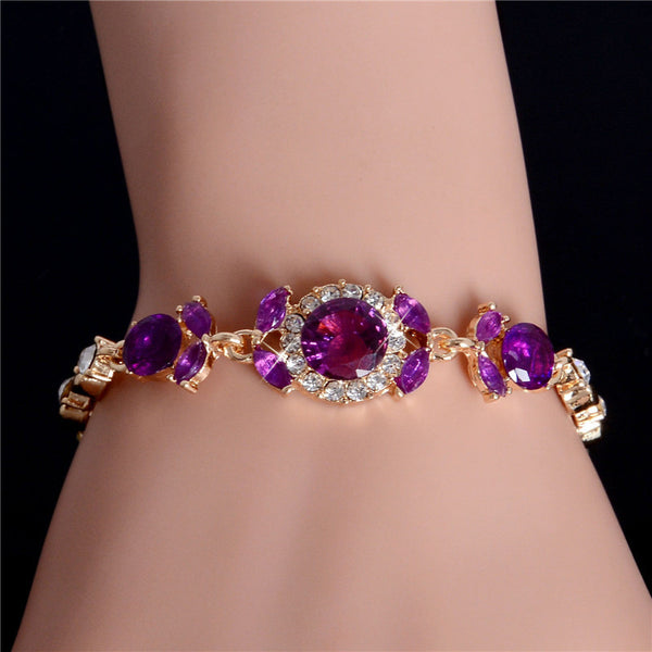 Gold Plated Purple CZ Austrian Crystal Stones Bracelet