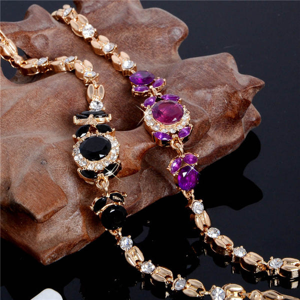 Gold Plated Black & Purple CZ Austrian Crystal Stones Bracelet