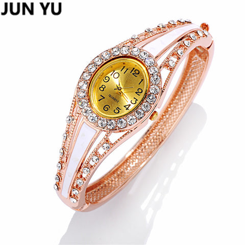 Rhinestone Retro Bangle Wrist Bracelet Quartz Watch