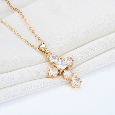 Gold Plated Clear Crystal CZ Charms Cross Pendant Necklace