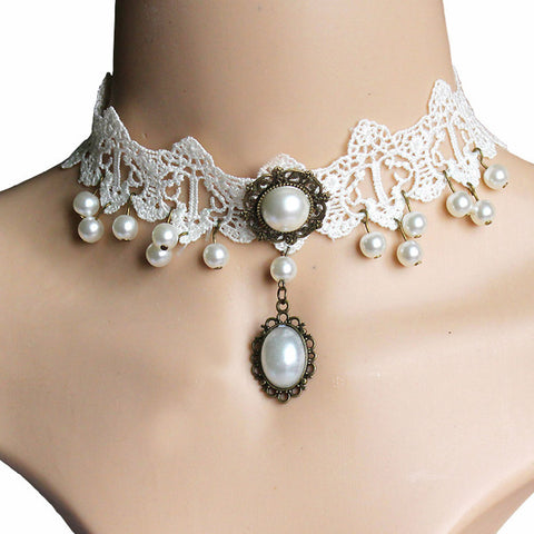 Popular Imitation Pearl Vintage White Lace Choker Necklace