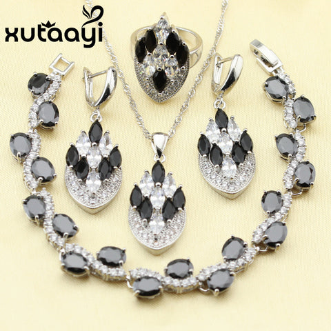 Silver Black Imitation Sapphire White CZ Earrings Bracelet Ring Necklace Jewelry Set