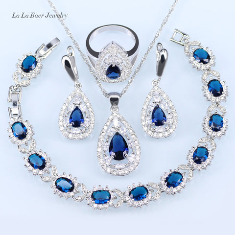 925 Silver Blue Crystal White CZ Drop Earrings/Bracelet/Pendant/Necklace/Ring Jewelry Set