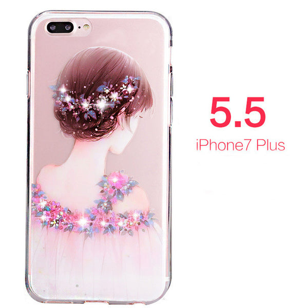 Rhinestone Glitter Silicone Cover Luxury Crystal Diamond Soft Shell Phone Case For iphone 7, 7 Plus