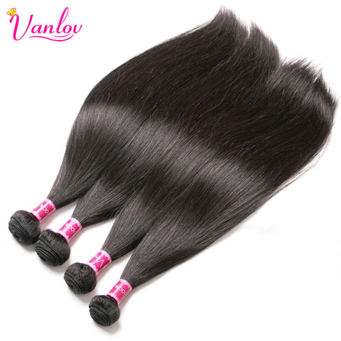 Brazilian Straight Human Hair Weave Bundles Jet Black Natural Color Non Remy Can Buy 3 or 4 PCS