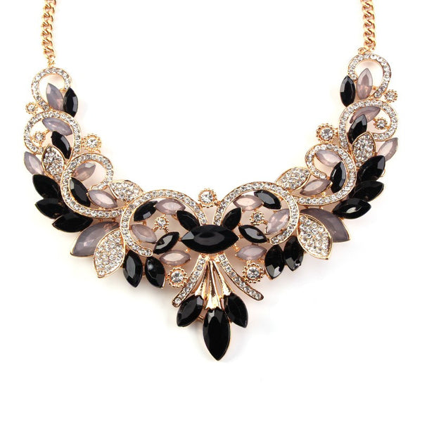 Vintage Turkish Black 1 Crystal Statement Collar Necklace