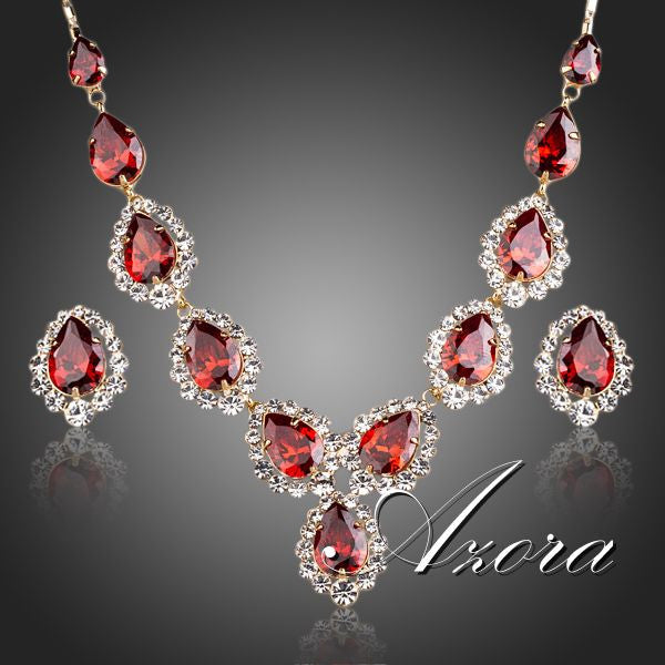 Gold Plated Red CZ Waterdrop Pendant Necklace and Stud Earrings Jewelry Set