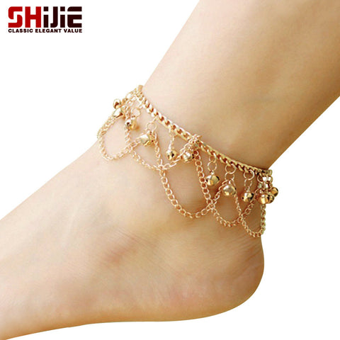Gold Bell Chain Tassel for Summer Anklet Ankle Bracelet