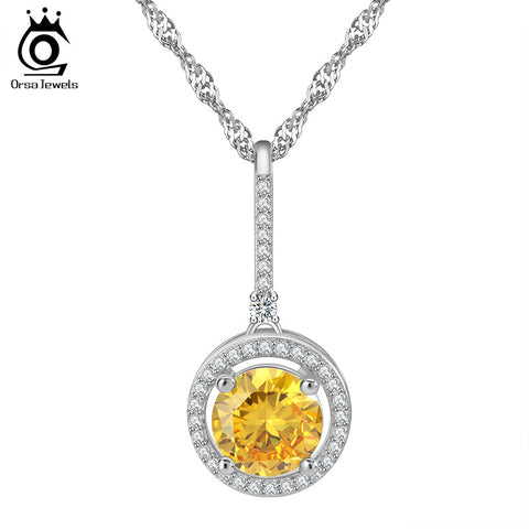 AAA Grade 2 ct Yellow Round Crystal CZ Pendant Necklace Paved Clear CZ