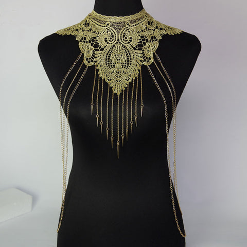 Lace Flower Collar Gold Hollow Out Gothic Necklace Multilayer Body Chains