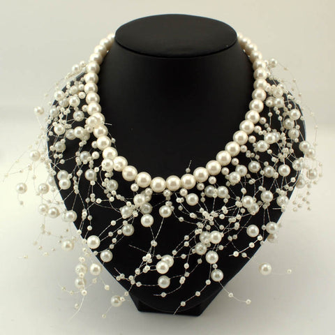 Simulated Pearls Tassel Bib Cluster Collar Wedding Statement Necklace
