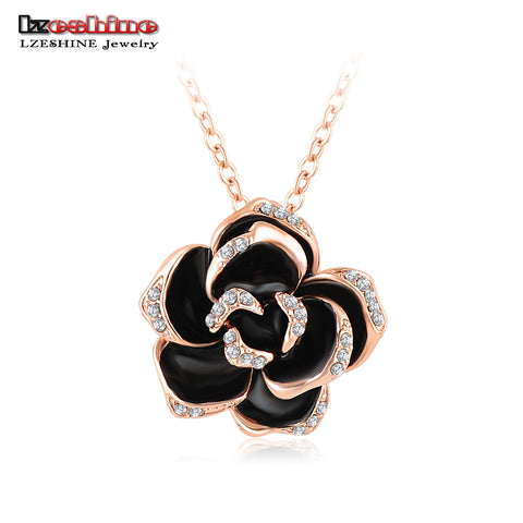 Black Enamel Rose Flower Pendant Necklace Austrian Crystal Rose Gold Plated Necklace