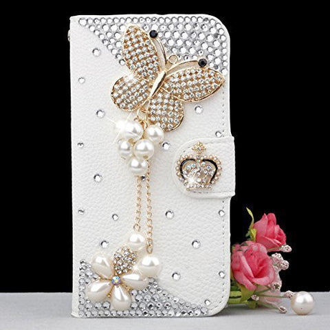 Handmade Rhinestone Pearl Leather Flip Protective Case for Iphone 6 7 & Samsung S6 E PLUS S7 S7E