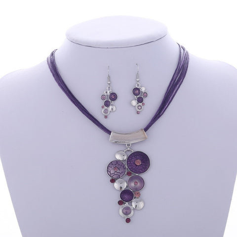 Vintage Big Circle Purple Enamel Necklace Earrings Jewelry Set
