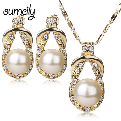 Necklace Earrings Gold Plated CZ & Simulated Pearl Vintage Bridal Wedding Jewelry Set