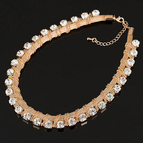 Vintage Gold Plated Chains Crystal  Choker Necklace