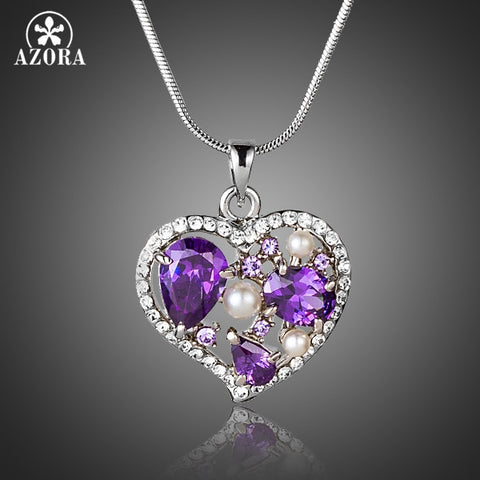 Purple CZ With Tiny Austrian Crystals Surround Heart Pendant Necklace