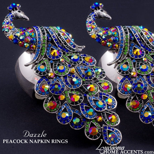 Peacock Swarovski Crystal Napkin Rings Blue