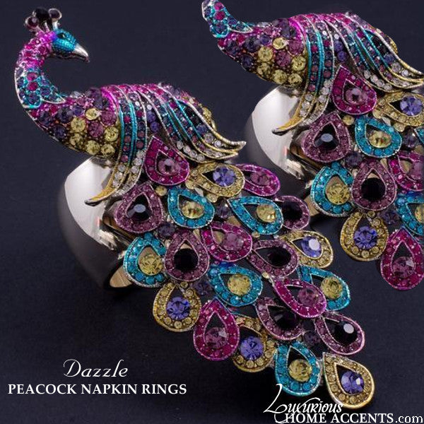Peacock Swarovski Crystal Napkin Rings Multi