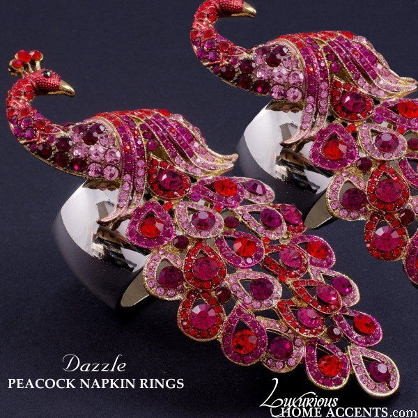 Peacock Swarovski Crystal Napkin Rings Red