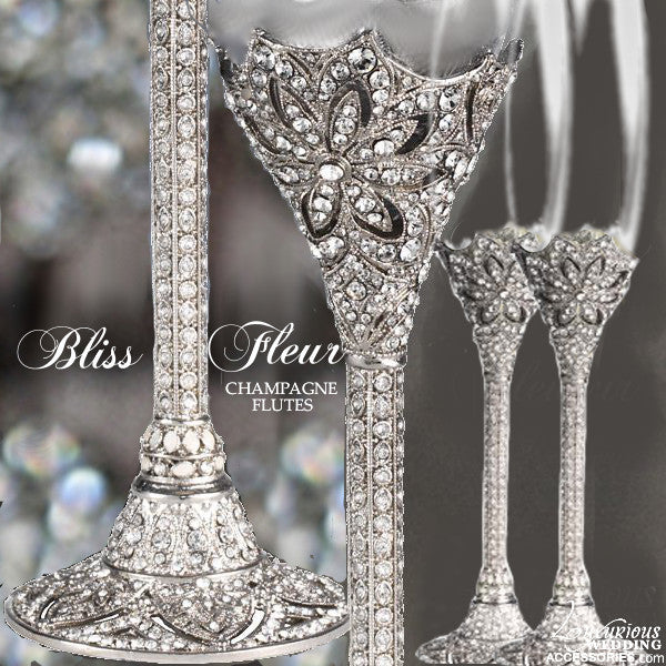Swarovski Crystal Silver Champagne Flutes and Cake Cutting Set