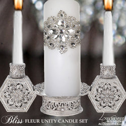 Swarovski Crystal Silver Unity Candle Holder
