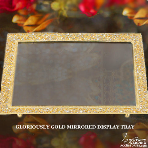 Gloriously Gold Cake Table Mirrored Display Tray