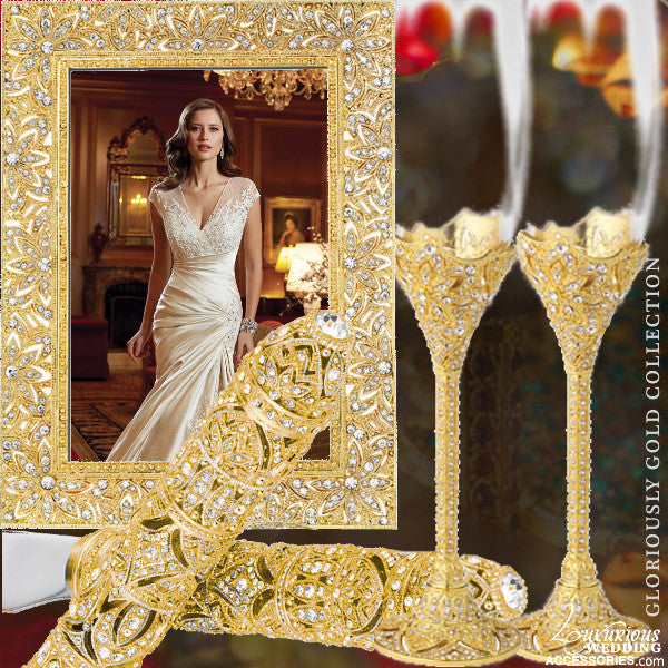 Gold Swarovski Crystal Wedding Set