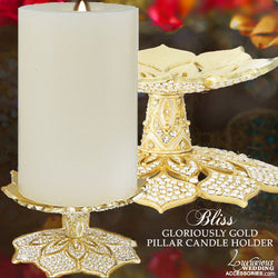 Bliss Gloriously Gold Pillar Candle Holder