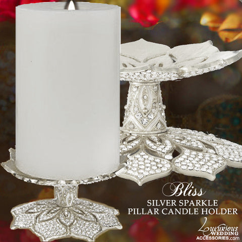 Silver Pillar Candle Holder Stand Fleur