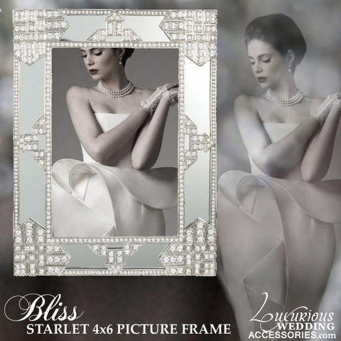 Swarovski Crystal Silver Mirrored Deco Picture Frame
