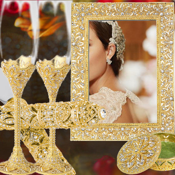 Gold Swarovski Crystal Wedding Set Bliss Gloriously Gold