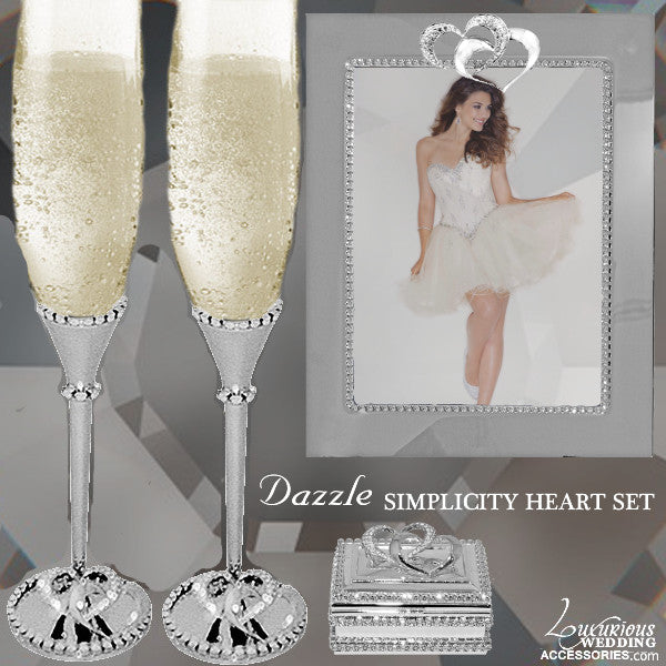 Swarovski Crystal Silver Heart Flutes, Frame and Box Set