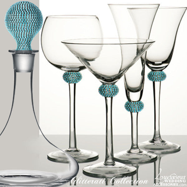 Glitterati Sparkling Crystal Cocktail Glass & Decanter Set Aqua Teal Blue