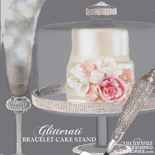 Glitterati Sparkling Crystal Cake Stand, Server & Flute Celebration Set
