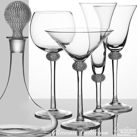 Glitterati Silver Sparkling Crystal Cocktail Glass & Decanter Set